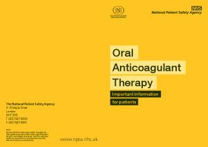 Oral. Anticoagulant Therapy.  Important information for patients