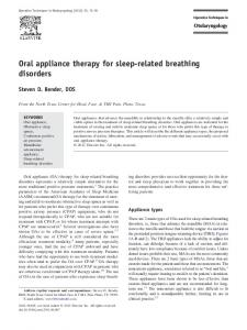 Oral appliance therapy for sleep-related breathing disorders