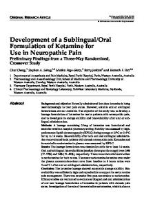 Oral Formulation of Ketamine for Use in Neuropathic Pain