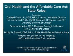 Oral Health and the Affordable Care Act: