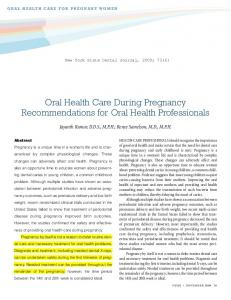 Oral Health Care During Pregnancy Recommendations for Oral Health Professionals