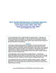 Oral Health Maintenance of Dental Implants