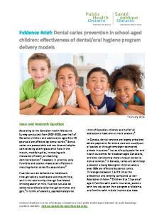 oral hygiene program delivery models
