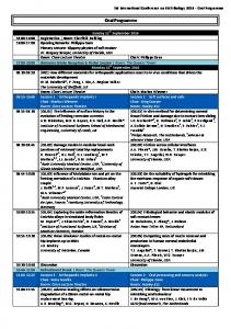 Oral Programme. 3rd International Conference on BioTribology 2016 Oral Programme