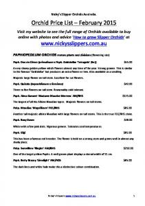 Orchid Price List February 2015