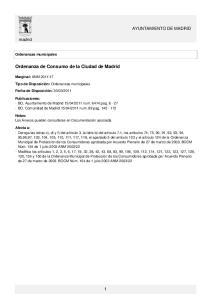 Ordenanza de Consumo de la Ciudad de Madrid