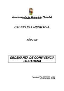 ORDENANZA DE CONVIVENCIA CIUDADANA