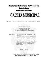 ORDENANZA DE CREACION DEL INSTITUTO AUTONOMO DE POLICIA MUNICIPAL