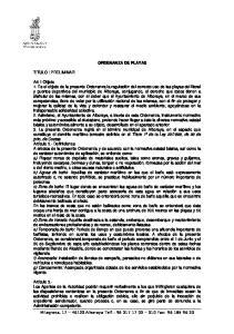 ORDENANZA DE PLAYAS TITULO I PRELIMINAR