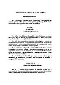 ORDENANZA DE POLICIA DE LA VIA PUBLICA