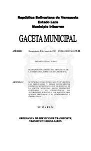 ORDENANZA DE SERVICIO DE TRANSPORTE, TRANSITO Y CIRCULACION