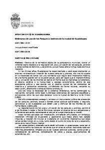 Ordenanza de uso de los Parques y Jardines de la ciudad de Guadalajara