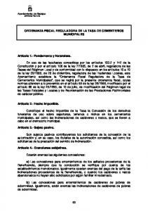 ORDENANZA FISCAL REGULADORA DE LA TASA DE CEMENTERIOS MUNICIPALES