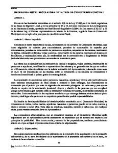ORDENANZA FISCAL REGULADORA DE LA TASA DE CEMENTERIO MUNICIPAL