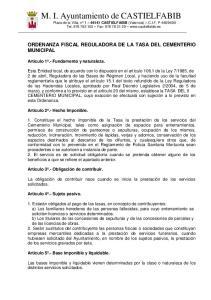 ORDENANZA FISCAL REGULADORA DE LA TASA DEL CEMENTERIO MUNICIPAL