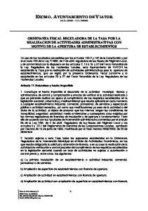 ORDENANZA FISCAL REGULADORA DE LA TASA POR LA REALIZACION DE ACTIVIDADES ADMINISTRATIVAS CON MOTIVO DE LA APERTURA DE ESTABLECIMIENTOS