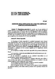 ORDENANZA FISCAL REGULADORA DE LA TASA POR LICENCIA DE APERTURA DE ESTABLECIMIENTO