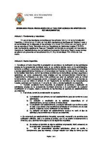 ORDENANZA FISCAL REGULADORA DE LA TASA POR LICENCIA DE APERTURA DE ESTABLECIMIENTOS