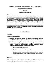 ORDENANZA FISCAL REGULADORA DE LA TASA POR RECOGIDA DE BASURA