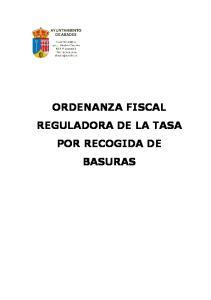 ORDENANZA FISCAL REGULADORA DE LA TASA POR RECOGIDA DE BASURAS