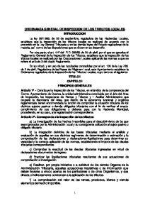 ORDENANZA GENERAL DE INSPECCION DE LOS TRIBUTOS LOCALES