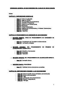 ORDENANZA GENERAL DE SUBVENCIONES DEL CABILDO DE GRAN CANARIA