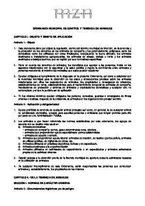 ORDENANZA MUNICIPAL DE CONTROL Y TENENCIA DE ANIMALES
