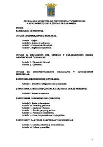 ORDENANZA MUNICIPAL DE CONVIVENCIA Y CIVISMO DEL AYUNTAMIENTO DE LA CIUDAD DE TARAZONA