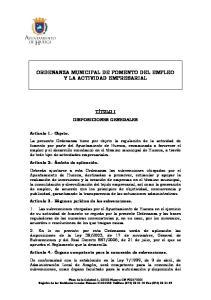 ORDENANZA MUNICIPAL DE FOMENTO DEL EMPLEO Y LA ACTIVIDAD EMPRESARIAL