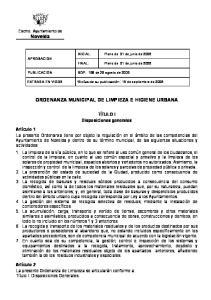 ORDENANZA MUNICIPAL DE LIMPIEZA E HIGIENE URBANA