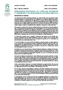 ORDENANZA MUNICIPAL DE LIMPIEZA, RECOGIDA Y TRANSPORTE DE RESIDUOS DE VITORIA-GASTEIZ