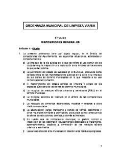 ORDENANZA MUNICIPAL DE LIMPIEZA VIARIA