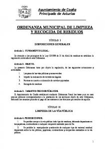 ORDENANZA MUNICIPAL DE LIMPIEZA Y RECOGIDA DE RESIDUOS