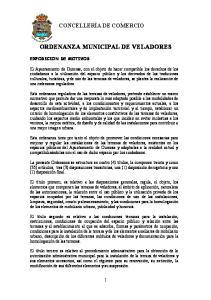 ORDENANZA MUNICIPAL DE VELADORES