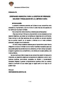 ORDENANZA MUNICIPAL PARA LA GESTION DE RESIDUOS SOLIDOS Y REGULACION DE LA LIMPIEZA VIARIA