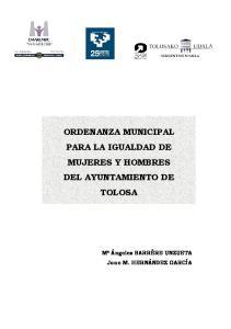 ORDENANZA MUNICIPAL PARA LA IGUALDAD DE MUJERES Y HOMBRES DEL AYUNTAMIENTO DE TOLOSA
