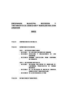 ORDENANZA MUNICIPAL RECOGIDA Y TRATAMIENTO DE DESECHOS Y RESIDUOS SOLIDOS URBANOS