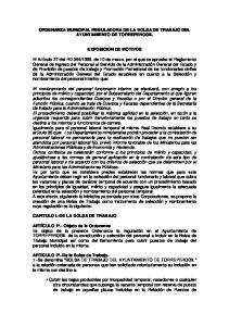 ORDENANZA MUNICIPAL REGULADORA DE LA BOLSA DE TRABAJO DEL AYUNTAMIENTO DE TORREPEROGIL EXPOSICION DE MOTIVOS