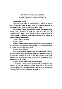 ORDENANZA MUNICIPAL REGULADORA DE LA DISTRIBUCION GRATUITA DE PRENSA