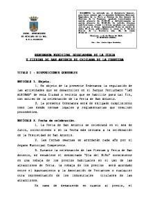 ORDENANZA MUNICIPAL REGULADORA DE LA FERIA Y FIESTAS DE SAN ANTONIO DE CHICLANA DE LA FRONTERA
