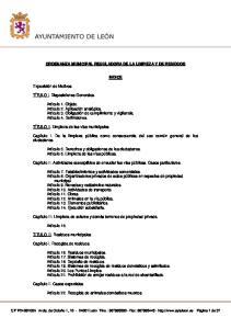 ORDENANZA MUNICIPAL REGULADORA DE LA LIMPIEZA Y DE RESIDUOS INDICE