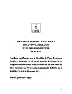 ORDENANZA MUNICIPAL REGULADORA DE LA VENTA AMBULANTE EN EL TERMINO MUNICIPAL DE MURCIA
