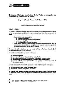 Ordenanza Municipal reguladora de la Venta en mercados no sedentaria en el municipio de Alfafar