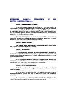ORDENANZA MUNICIPAL REGULADORA DE LAS CONTRIBUCIONES ESPECIALES