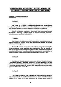 ORDENANZA MUNICIPAL REGULADORA DE LAS FIESTAS GENERALES DE BARAKALDO
