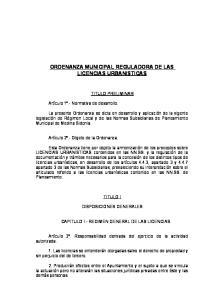 ORDENANZA MUNICIPAL REGULADORA DE LAS LICENCIAS URBANISTICAS