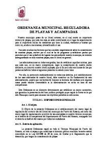 ORDENANZA MUNICIPAL REGULADORA DE PLAYAS Y ACAMPADAS