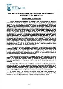 ORDENANZA MUNICIPAL REGULADORA DEL COMERCIO AMBULANTE EN MARBELLA