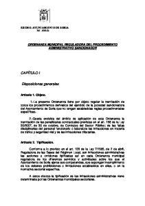 ORDENANZA MUNICIPAL REGULADORA DEL PROCEDIMIENTO ADMINISTRATIVO SANCIONADOR