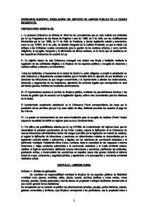 ORDENANZA MUNICIPAL REGULADORA DEL SERVICIO DE LIMPIEZA PUBLICA DE LA CIUDAD DE SANTA FE